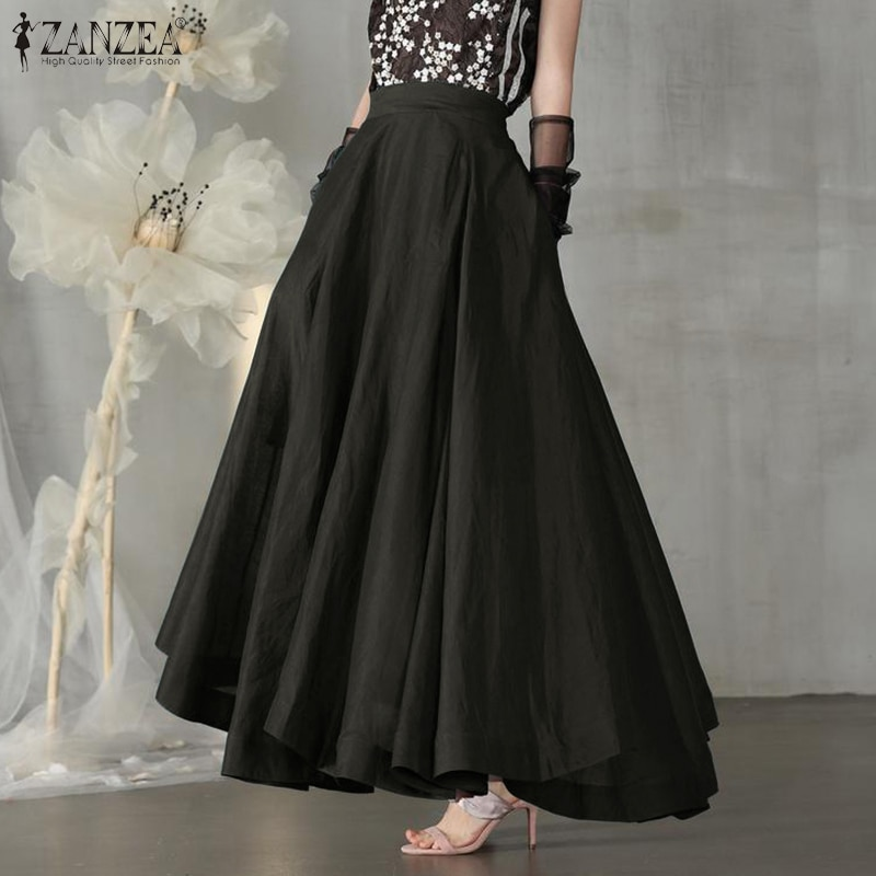 ZANZEA Fashion Women Skirts Summer High Waist Skirts Jupe Vintage Solid A-line Party Skirt Female Work Maxi Long Faldas Saia