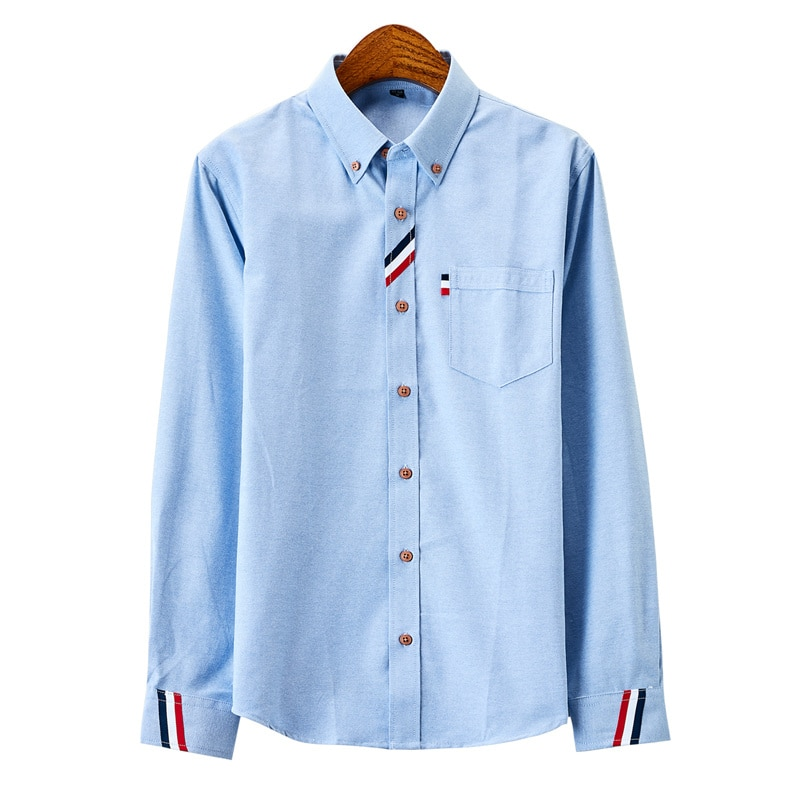 Men's clothing Casual Solid Dress White Shirt Single Patch Pocket Long Sleeve Regular-fit Button-down Thick Shirts