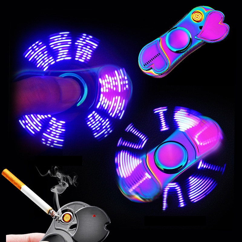 Colorful Luminous Metal Fidget Spiner Hand Spinner Top Spinners Stress USB Charging Lighters Fingertip Gyro Adult Toys Gift E