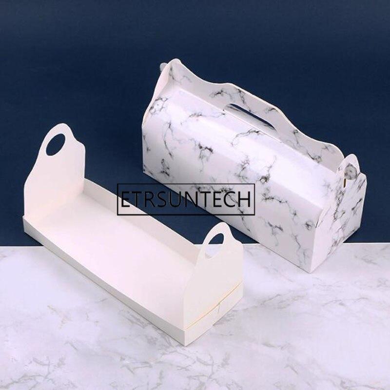 100 piezas de moda elegante mármol de rollo caja de pastel de queso pastel caja Suiza toalla rollo de caja de regalo