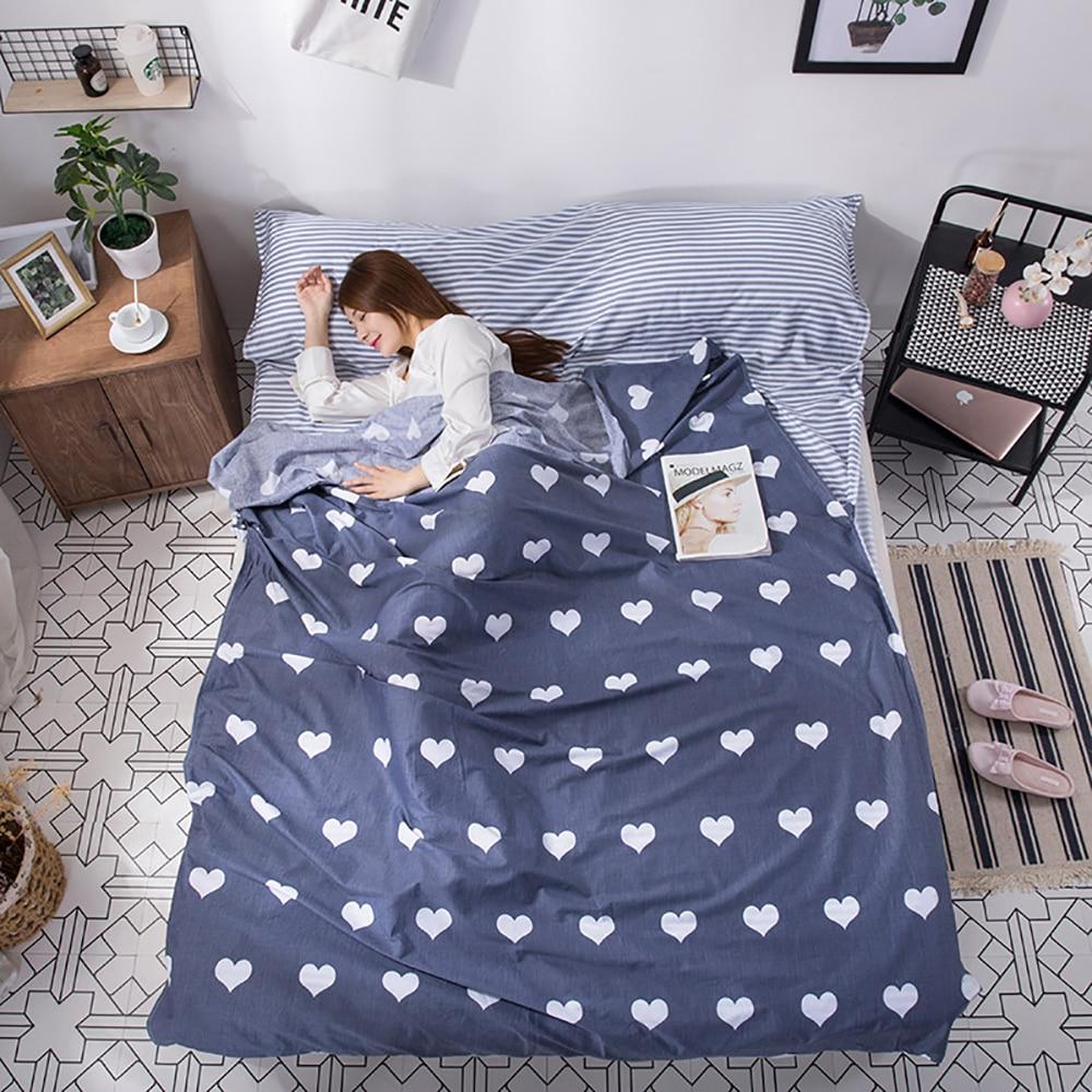 Patrón de amor de algodón saco de dormir para adultos estilo sobre bolsas de dormir portátiles para Camping turismo
