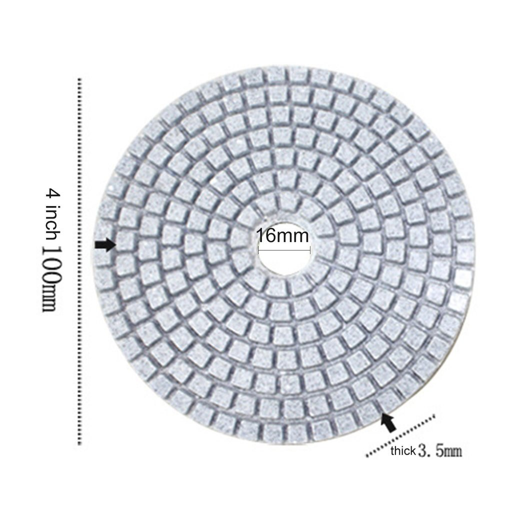10pcs Diamond Polishing Pads Kit 4 inch 100mm Wet/Dry for Granite Stone Concrete Marble Polishing Use Grinding Discs Set