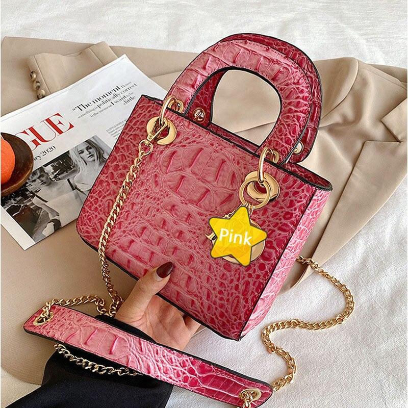 حقائب Pu للنساء 2021 الفاخرة مصمم حقيبة يد عادية التمساح نمط حمل حقيبة سيدة صغيرة حقائب كروسبودي كيس فام