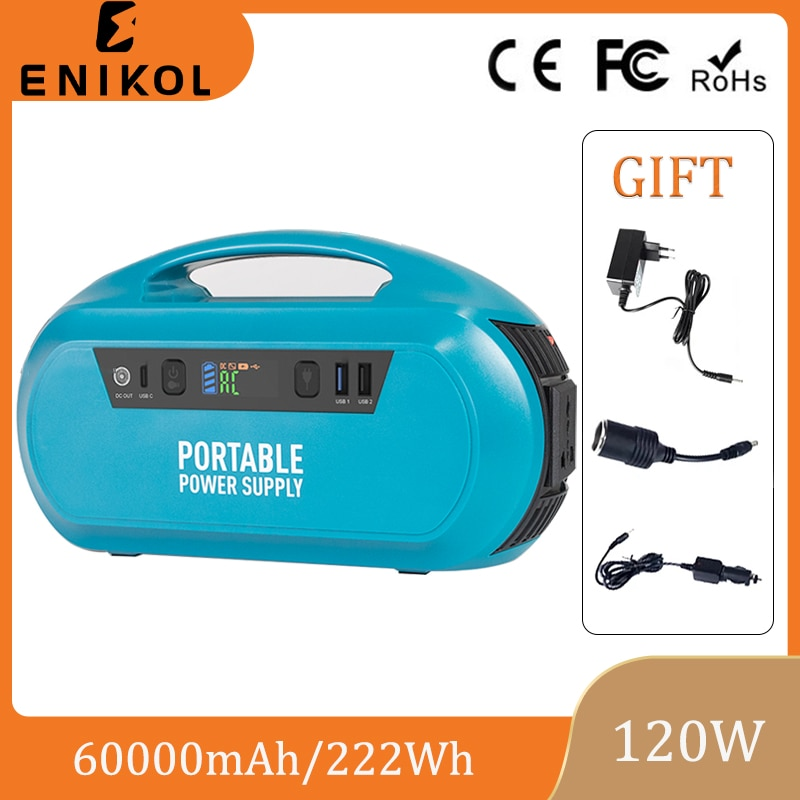 Enikol Outdoor Camping Traveling Battery Large Capacity 120W Power Bank 110/220V Portable Solar Generator 60000mAh Power Station