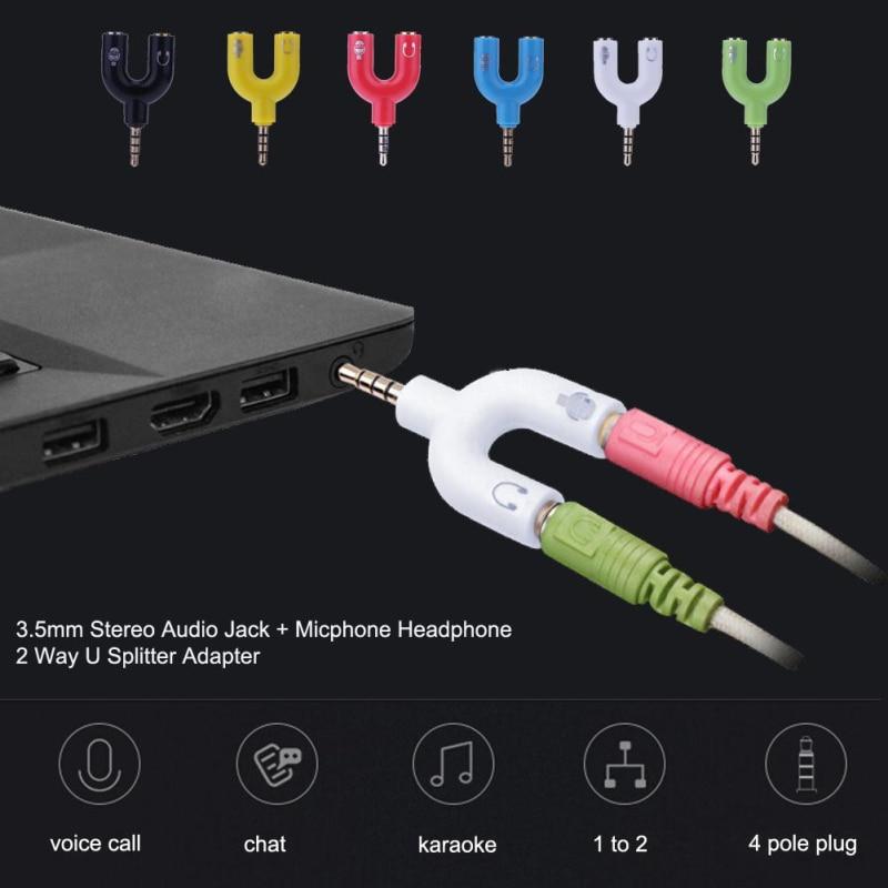 New 3.5mm Microphone Audio Converter Adapter Splitter Sound Stereo Audio Jack Interface External for 2 Way U  TSLM1