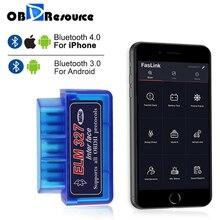 Bluetooth ELM327 для iPhone Android OBDII считыватель кодов V1.5 V2.1 ELM 327 Faslink бесплатное обновление