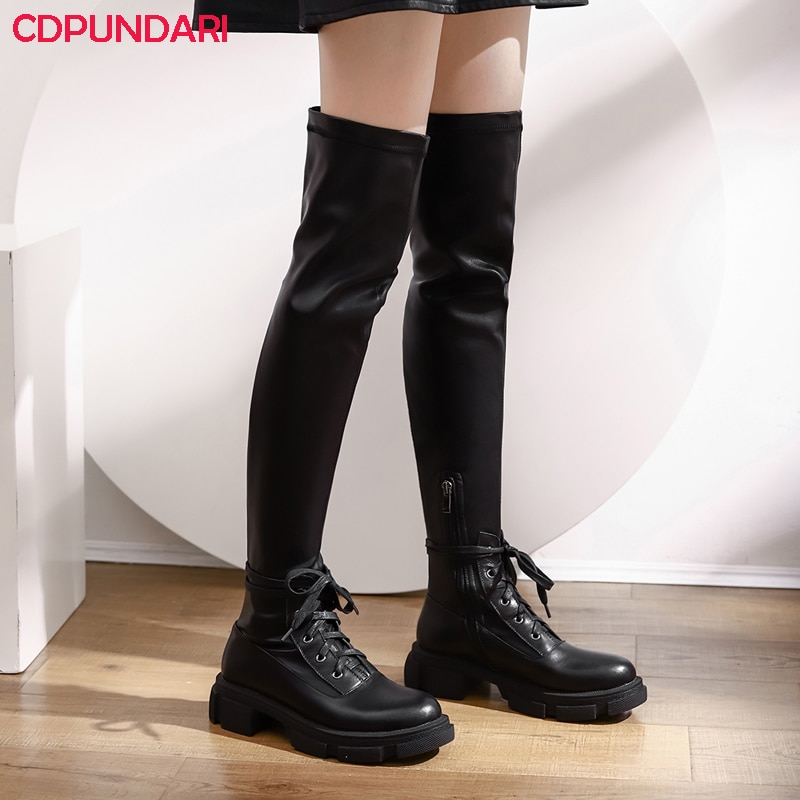 Women Black Genuine Leather Platform Stretch Over The Knee Boots Ladies Autumn Winter Punk Thigh High Boots Shoes Cuissarde