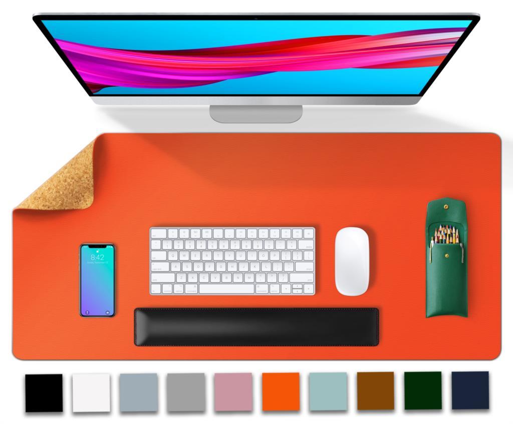 Corcho escritorio doble lado alfombrilla para ratón de juegos de gran almohadilla de cuero para escritorio Mat-estera de tabla teclado alfombrilla de ratón para jugador Mousepad impermeable