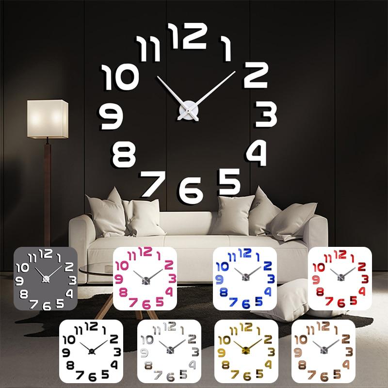 Diseño de reloj de pared, gran espejo acrílico, pegatinas de relojes, accesorios de sala de estar, Decoración de casa, reloj en la decoración de la pared