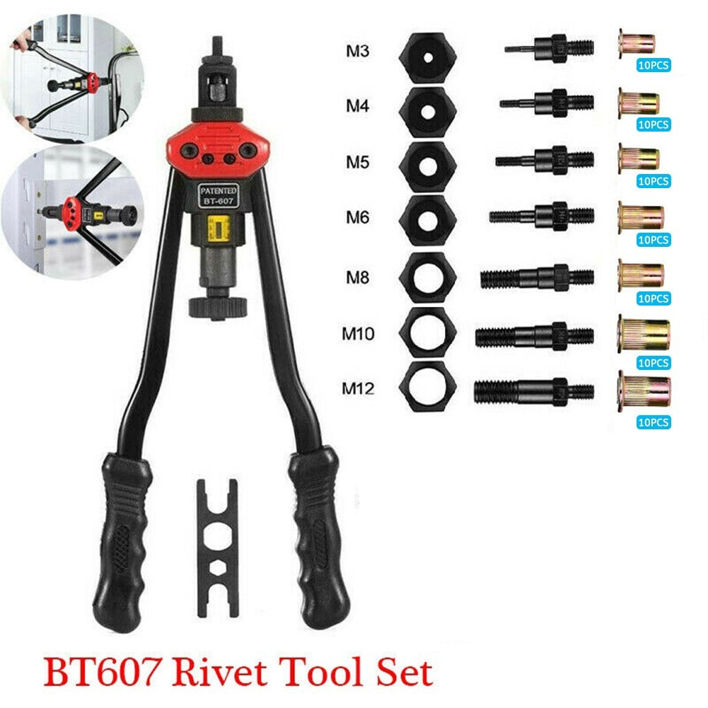 BT607 Rivet Nut Tool Riveter Tool Hand Blind Riveter Tool M3 M4 M5 M6 M8 M10 M12 For Bicycle Accessories Jeep Modification