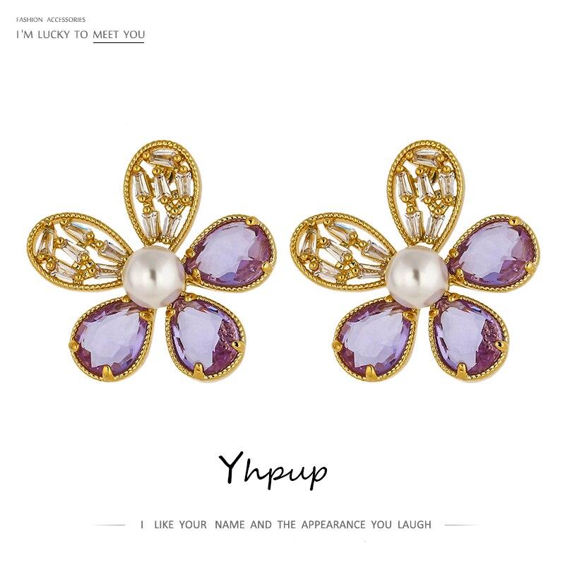 Yhpup, pendientes exquisitos de flor CZ, pendientes de lujo de alta calidad, pendientes de circonia cúbica, elegantes perlas de imitación, joyería kolczyki