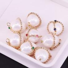 10 pièces CZ Micro pendentif pavé, pendentif en or, coquille perle oeufs forme pendentif bijoux accessoires