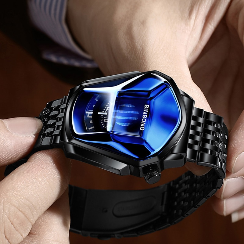 2021 Fashion Cool Locomotive Mens Watches Top Brand Luxury Quartz Gold Wristwatch Men Waterproof Geometric Shap tlsm enlarge