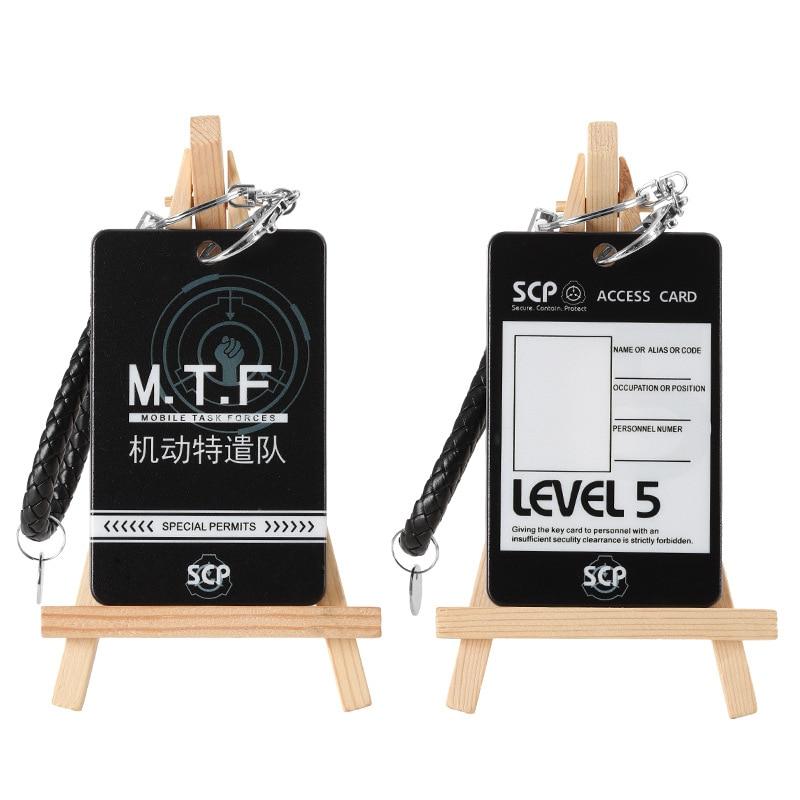 Set de accesorios de regalo de Cosplay, con base para Procedimiento de contención especial SCP, soporte para tarjeta de crédito, PVC, Bus, IC, funda colgante