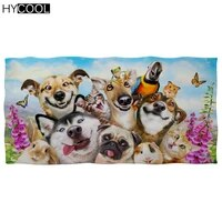 funny design 3d animal dog cat with floral printing microfiber quick drying bath face towels high absorbent beach swim toallas