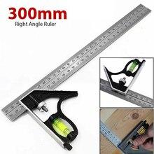 "12"" DIY Precise Stainless Steel Measuring Tools Aluminium Combination Mobile Square Workshop Hardware Angle Spirit Level 300mm"