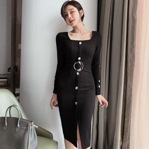 2021 Spring Women's High Cold Temperament Square Collar Waist Slim Arm Dress