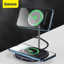 Baseus Magnetic Wireless Charger For iPhone 12 Pro Max Desktop Phone Stand Wireless Charger For Airp