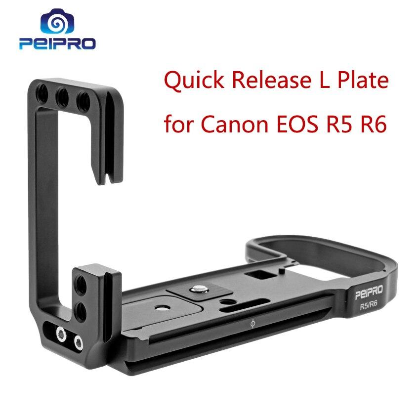PEIPRO L لوحة الإفراج السريع لكانون EOS R5 R6 كاميرا L-شكل المشبك سريع تحميل مقعد تدوير قوس 1/4