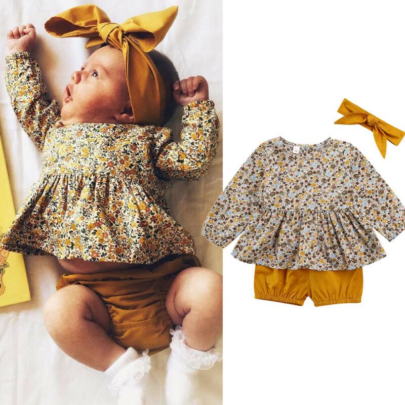 Conjunto de recién nacido Ropa Infantil 2020 Summrt primavera niño niñas camisetas florales vestido + Pantalones cortos 3 uds ropa