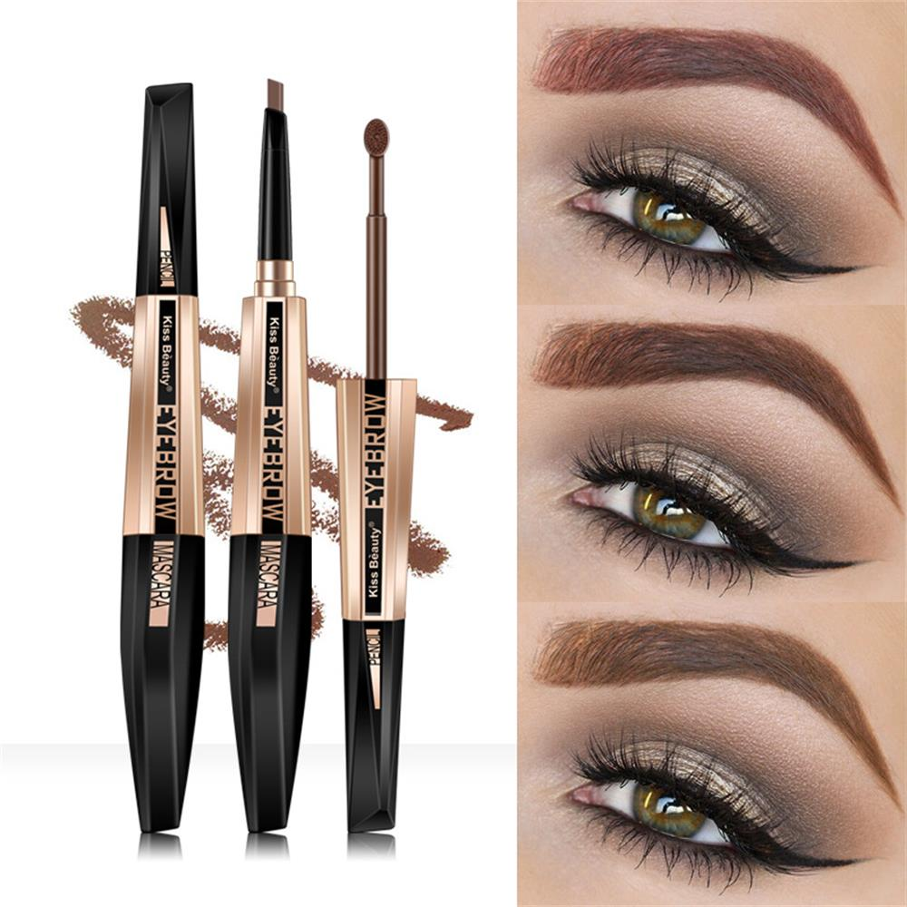 Kiss Beauty lápiz de cejas de doble punta + máscara de cejas impermeable líquido para cejas Gel café marrón Microblading tatuaje de cejas