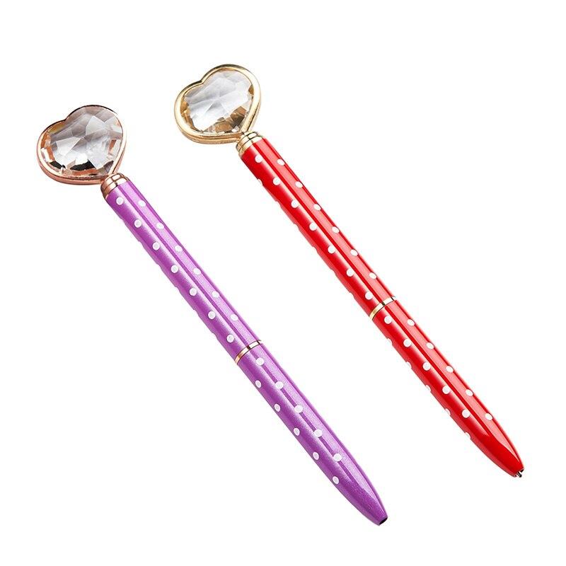 1 шт. металлическая шариковая ручка с сердечком и кристаллами, шариковая ручка с вращающимся сердечником и алмазами, красивый подарок, школь...