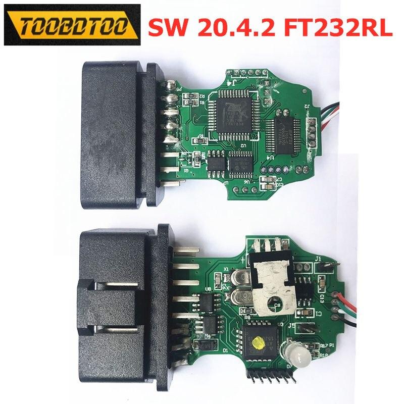 1st Chip FDTI FT232RL SW 20.4.2 Diagnose Kabel für Auto OBD2 usb-schnittstelle 1st 20.4.2 mit Grün PCB MCP2515 ATMEGA162