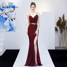 evening dresses 2019 sexy v-neck mermaid dark red sequin women formal dress floor length in stock evening gown