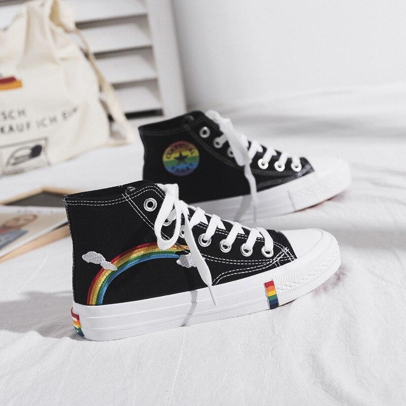 Zapatos vulcanizados de lona Retro para mujer, zapatillas vulcanizadas de arcoíris de tendencia, color blanco, 2021