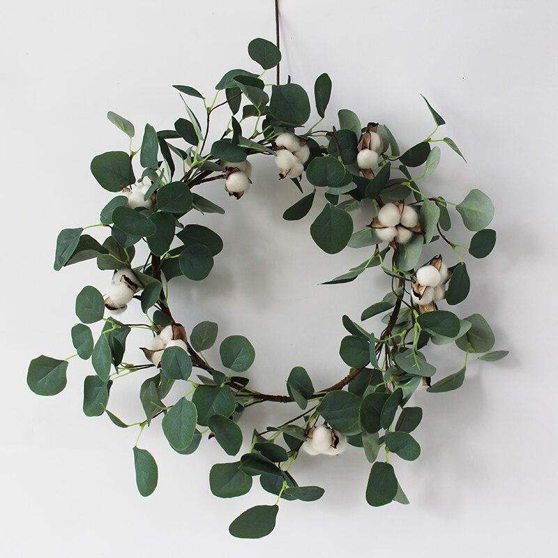 Guirnaldas de eucalipto de imitación festivales de verano y otoño celebrar la puerta delantera corona decoración colgante de pared