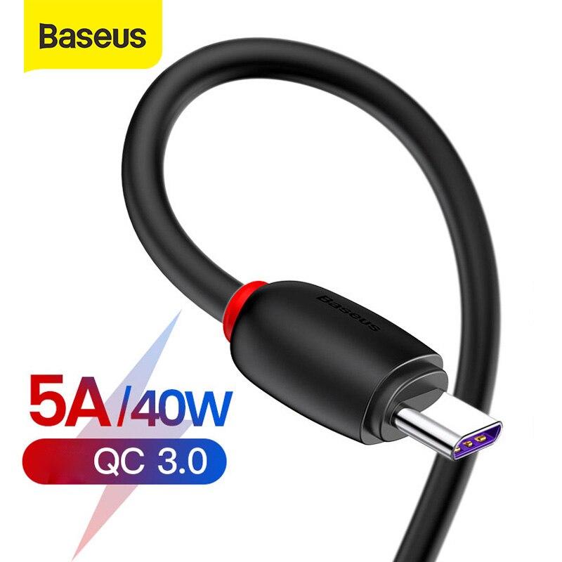 Baseus 40W USB tipo C para Huawei P30 Pro Mate 30 P20 Lite sobrecargar USB-C Cable tipo-C de carga rápida USB-C Cable de datos