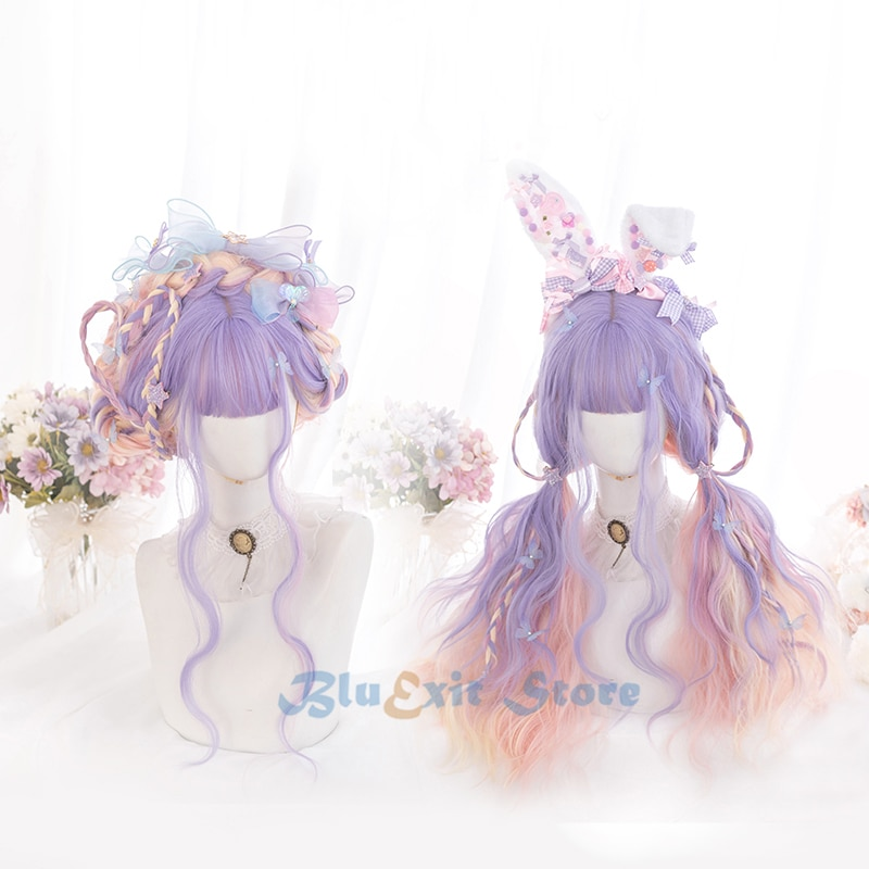 Harajuku gradual roxo rosa lolita peruca feminino longo encaracolado cabelo onda franja franja franja adulto chique meninas cosplay diário wear