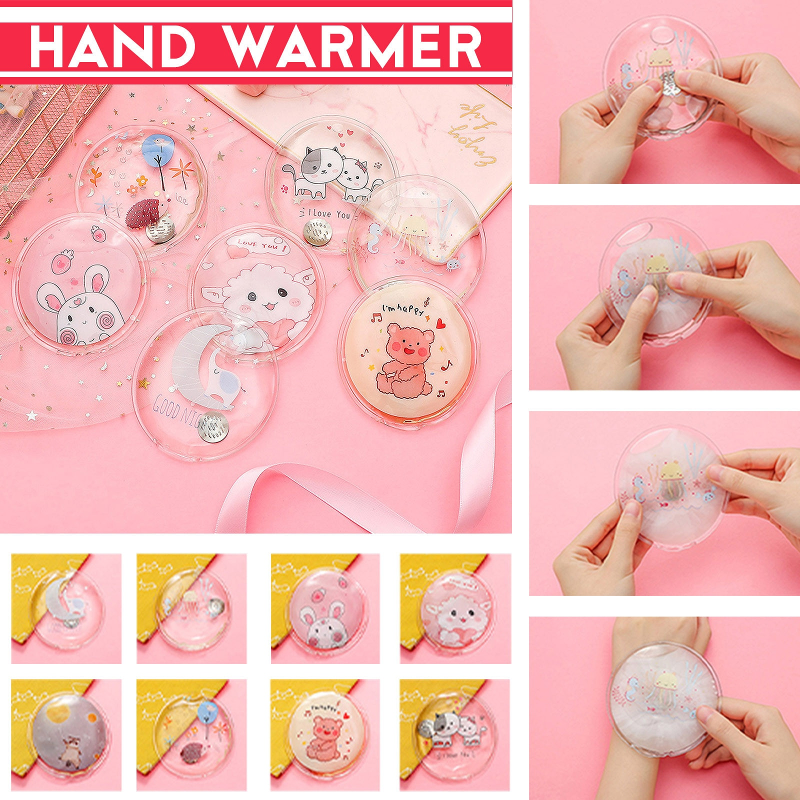 Mini Winter Reusable Gel Hand Warmer Cute Cartoon Instant Self Heating Pack Warmer Warm Supplies Hot