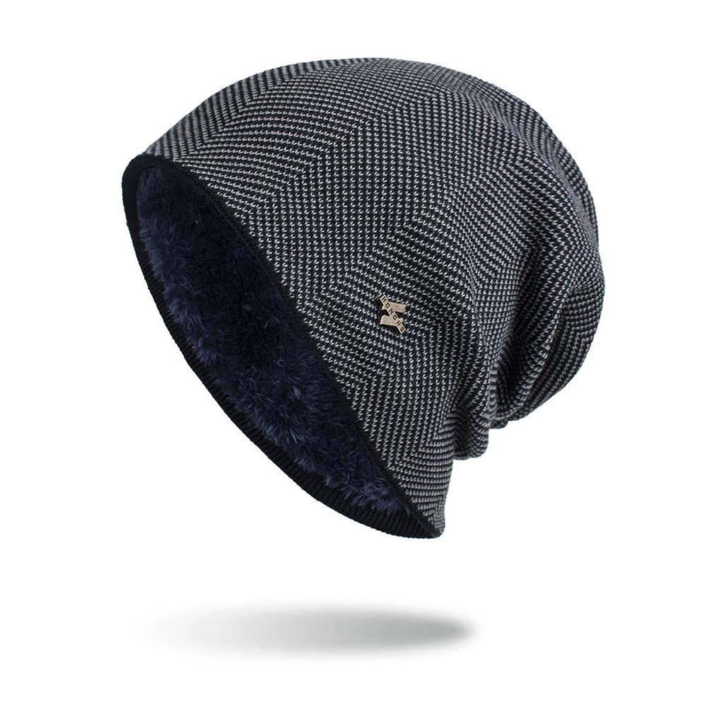 Gorro de invierno para hombre 2019 gorros de punto de moda sombrero de otoño grueso y cálido gorro gorros de punto suave Plus de terciopelo