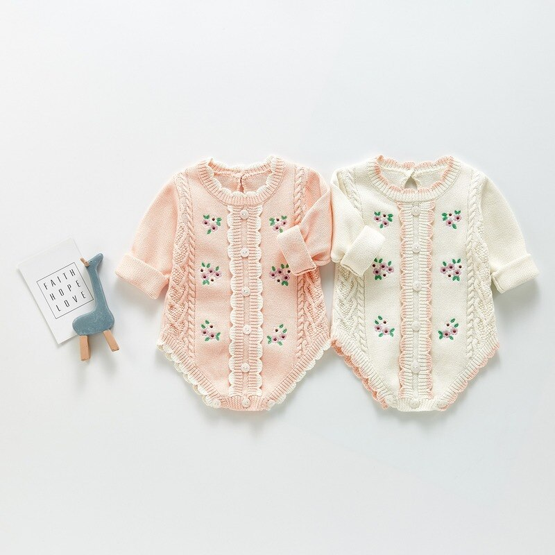 Autumn New Baby Bodysuits Floral Embroidery Girls One Piece Long Sleeve Toddler Outfit Baby Girl Rom