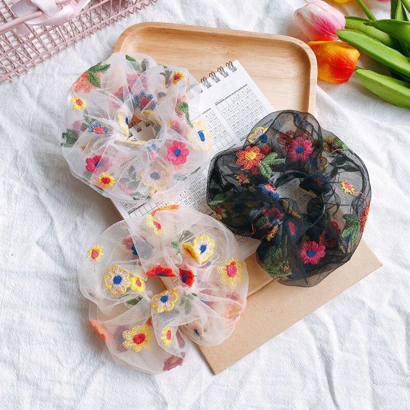 Para Mujer bordado estampado Floral Scrunchies niñas banda de goma cuerdas para el cabello de niñas banda elástica para el pelo accesorios de mujer ornamento
