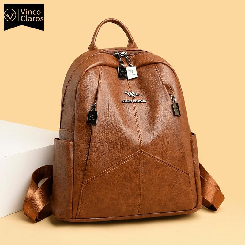 العلامة التجارية الفاخرة النساء حقائب جلدية عالية الجودة الظهر حزمة السفر حقيبة المدرسة الكبيرة محفظة مصمم حقائب للنساء Mochilas