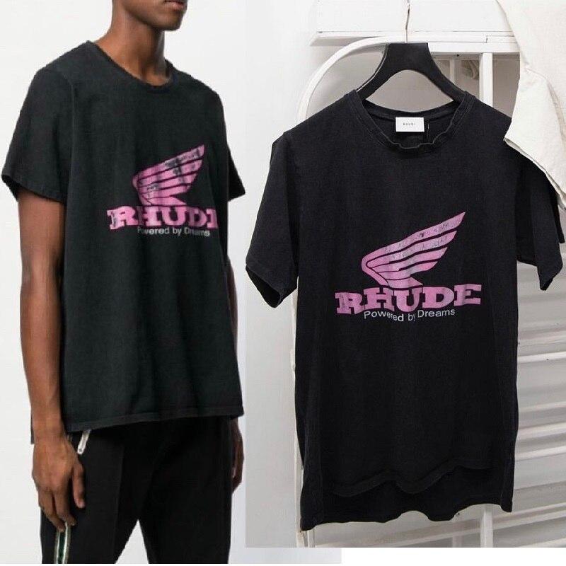 Camiseta Rhude de 19ss para hombres y mujeres con estampado de alas de Chicago Limit Harajuku, camiseta de estilo veraniego, camisetas de algodón para parejas RHUDE