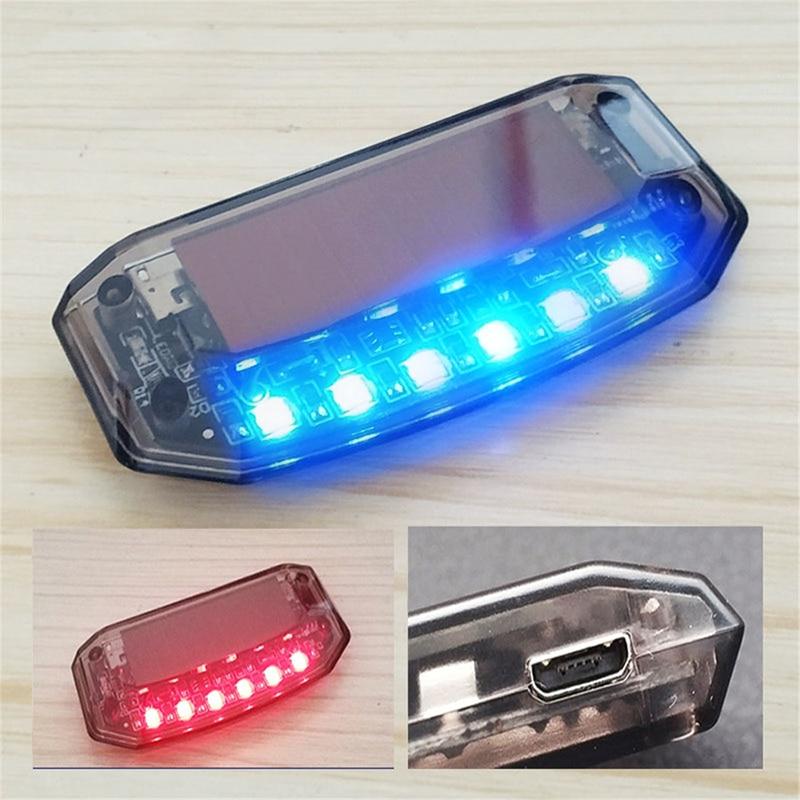 Автомобильная противокражная имитация вибрации на солнечной батарее с 6 синими и красными светодиодами, Автомобильная сигнализация, охран...