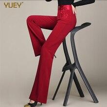 Marque printemps mode femmes pantalons pour dames élégant jambe large pantalon broderie taille haute pantalon droit 5XL 6XL rouge marron