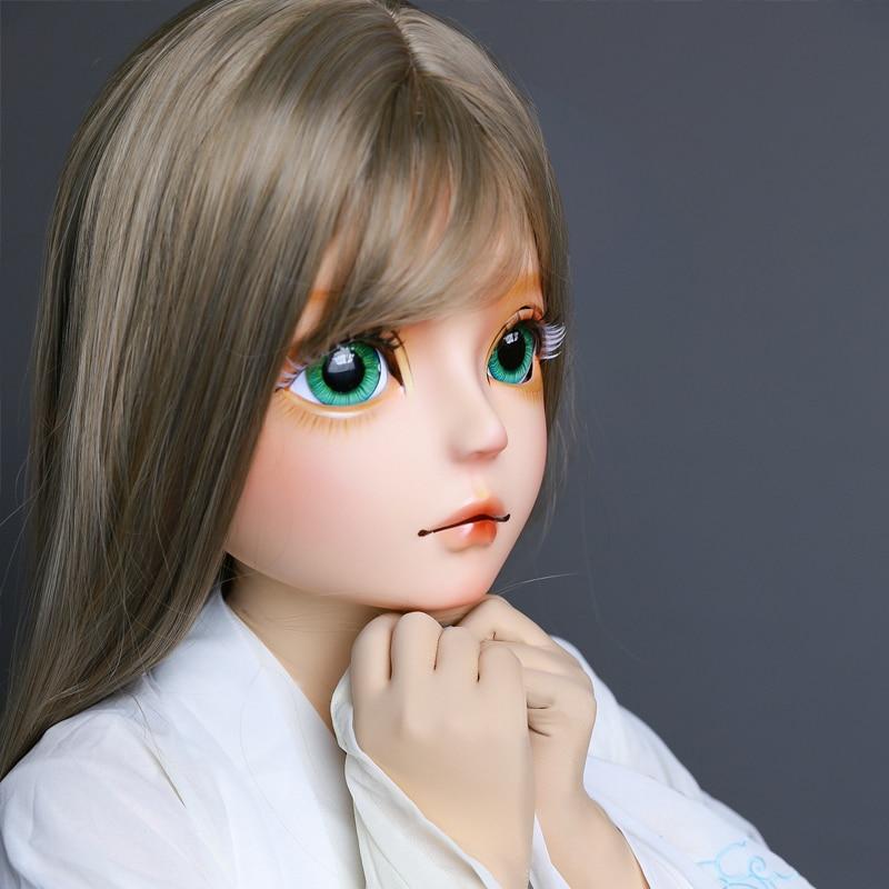 (HIDOLLS 03) Handmade Female Girl Silica Resin Half Head Cosplay Japanese Role Play BJD Kigurumi Masks Crossdresser Doll Mask