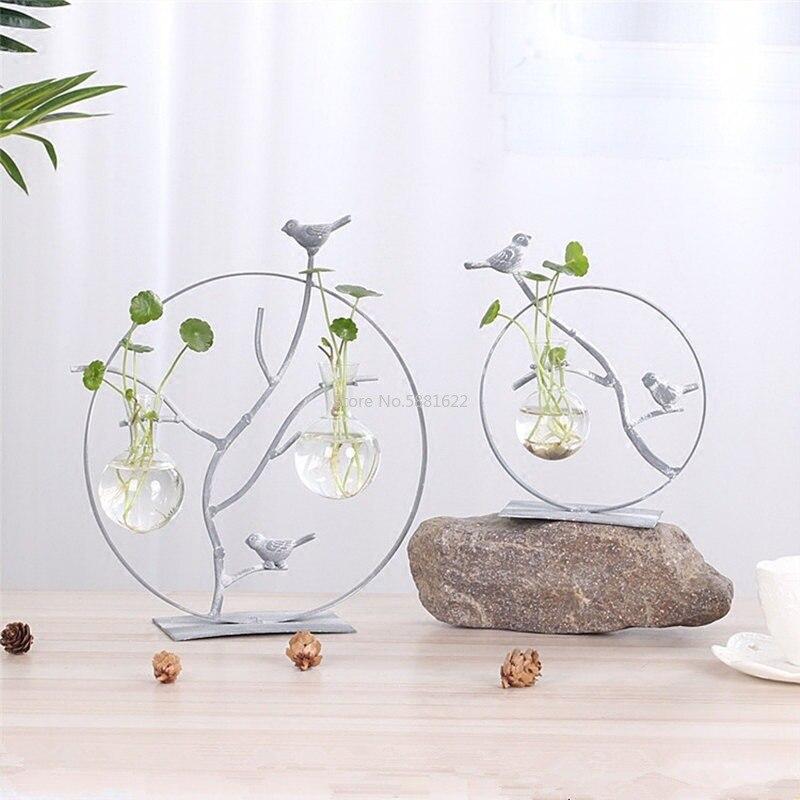 Florero de cristal nórdico transparente, florero de planta hidroponi chapado en oro moderno a la moda, decoración creativa para habitación de terrario, hogar o boda