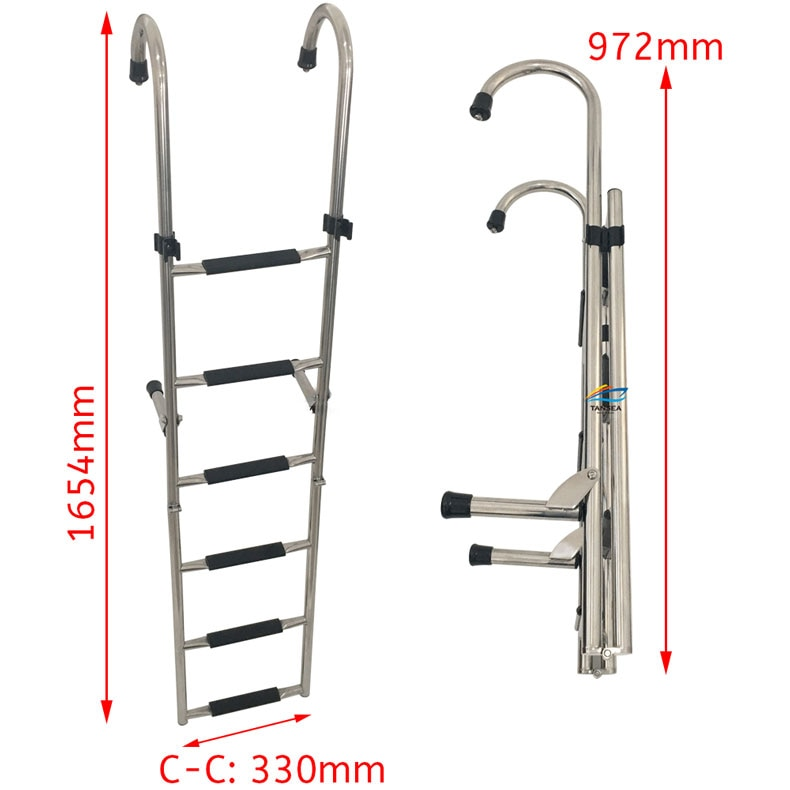 1.65m Stainless steel 304 folding launch ladder hook hanging ladder handrail ladder boarding ladder ship marine accessories