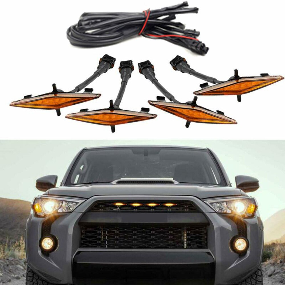 Amber Grille LED Lights Set Parts Exterior Lamp For Toyota 4Runner TRD Pro Grille 2014-2019
