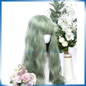 Sweet Mixed Green Lolita Wig Harajuku Avocado Green 60cm Long Curly Body Wave Synthetic Hair Fringe Bangs Adult Girls Party Hair