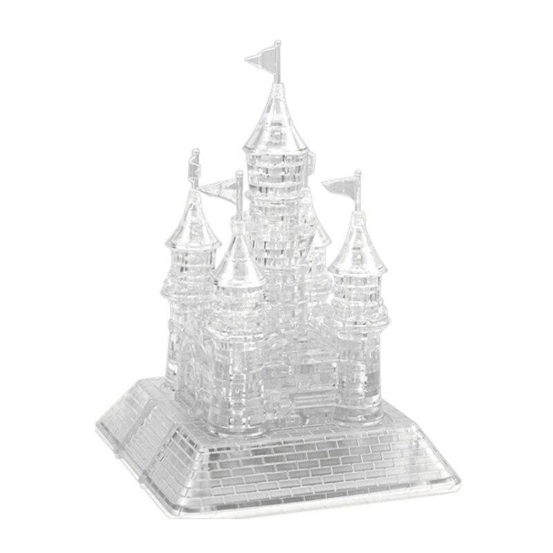 Rompecabezas con castillo de cristal de montaje en 3D, rompecabezas Musical en 3D con hermosa luz, juguete educativo para niños
