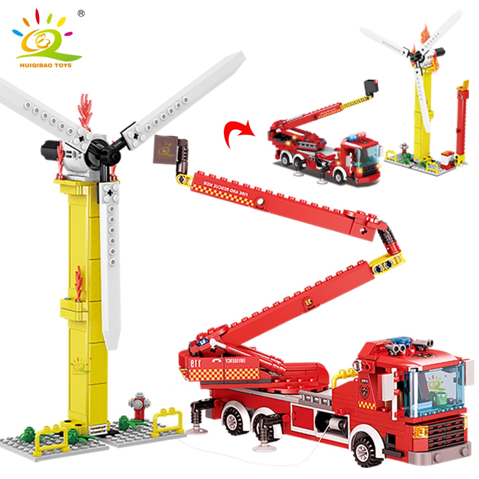 Городской пожарный трап HUIQIBAO, 400 шт., модель строительных блоков, набор пожарных, 2 фигурки, кирпичи, строительные игрушки для детей