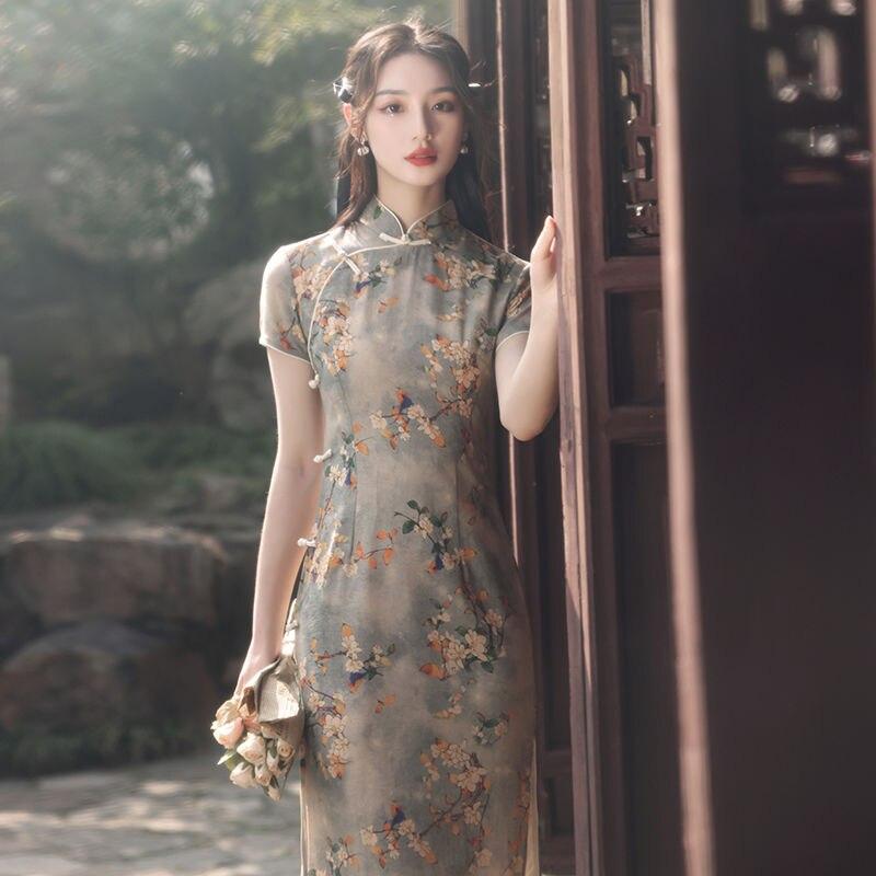 Summer Vintage Qipao Women Flower Sexy Party Dress Chinese Traditional Cheongsam Vestidos Classic Mandarin Collar Evening Gown