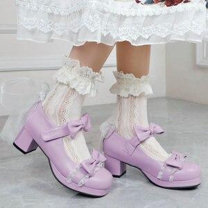Woman's High Heel Vintage Lolita Shoes Bowknot Mary Jane Shoes JK Cosplay Dress Uniform Pumps Ankle Strap Lace Ruffles Wedding