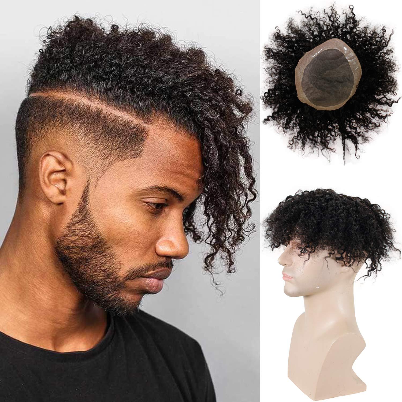 غريب مجعد شعر مستعار للرجال السود 100% شعر الإنسان أحادية الدانتيل استبدال شعر مستعار أمريكا الأفريقية 10x8 بوصة 1B أسود شعر ريمي